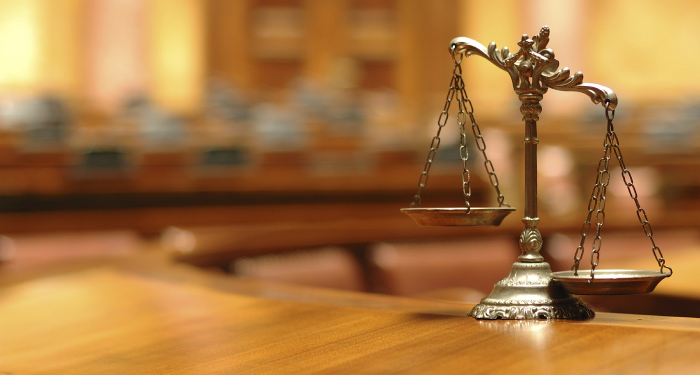law and justice in the empty courtroom, law and justice concept.